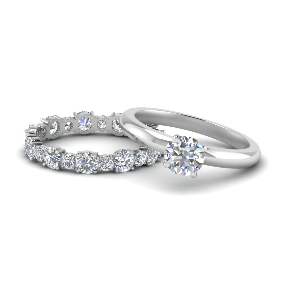 classic-round-cut-moissanite-solitaire-with-eternity band-set-in-FD9113RO-NL-WG