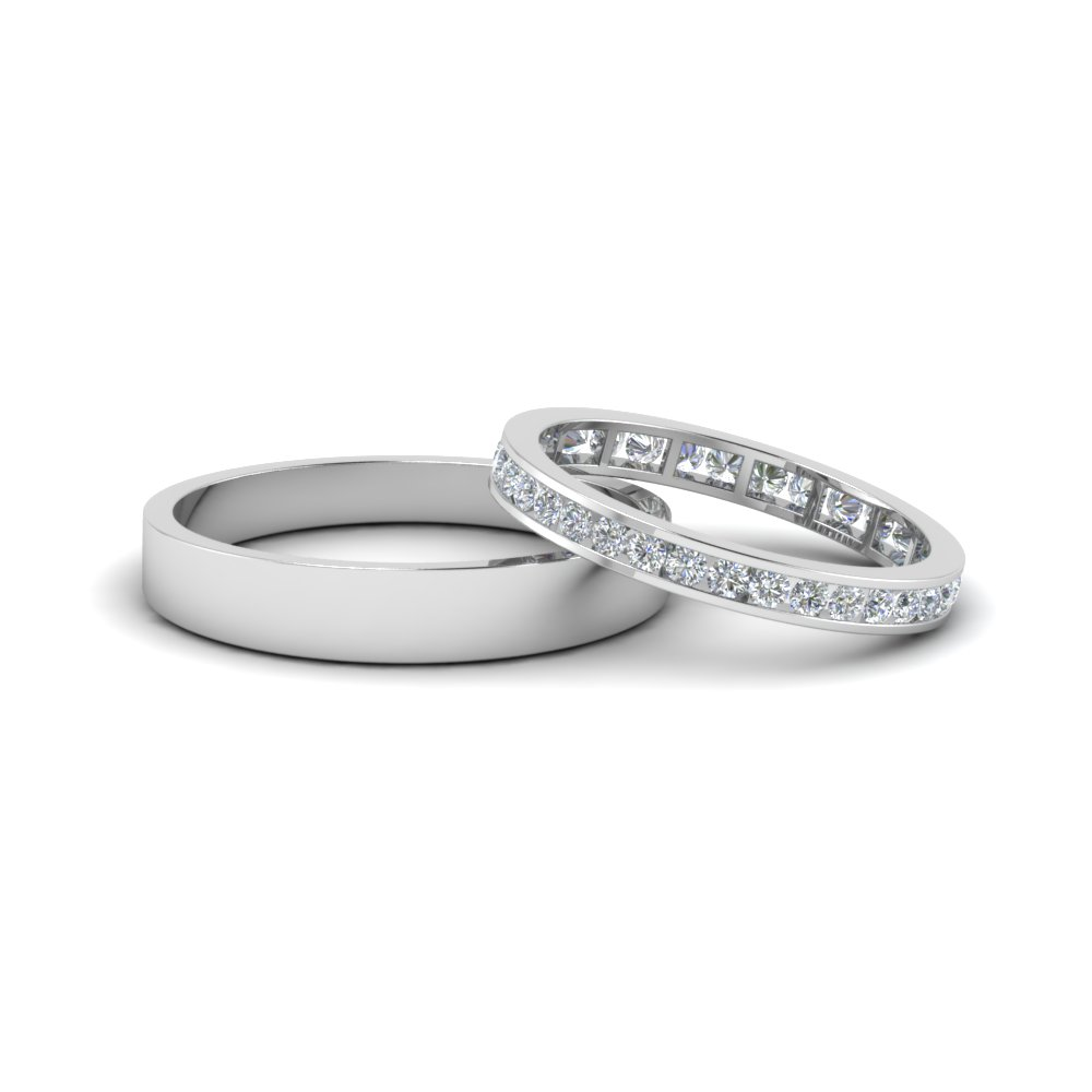 round diamond eternity anniversary matching ring with plain band him and her in 14K white gold FD8168B NL WG