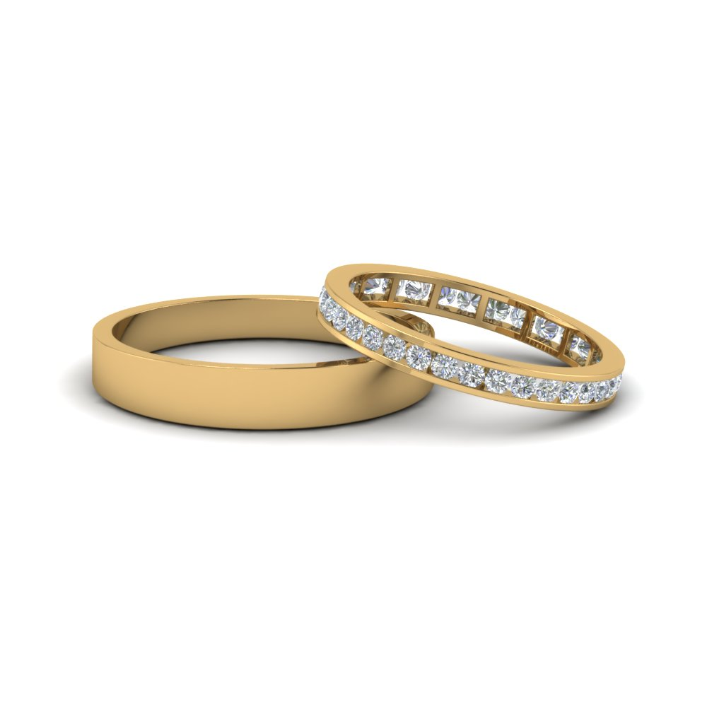 Round Diamond Eternity Anniversary Matching Ring With Plain Band Him And  Her In 18K Yellow Gold