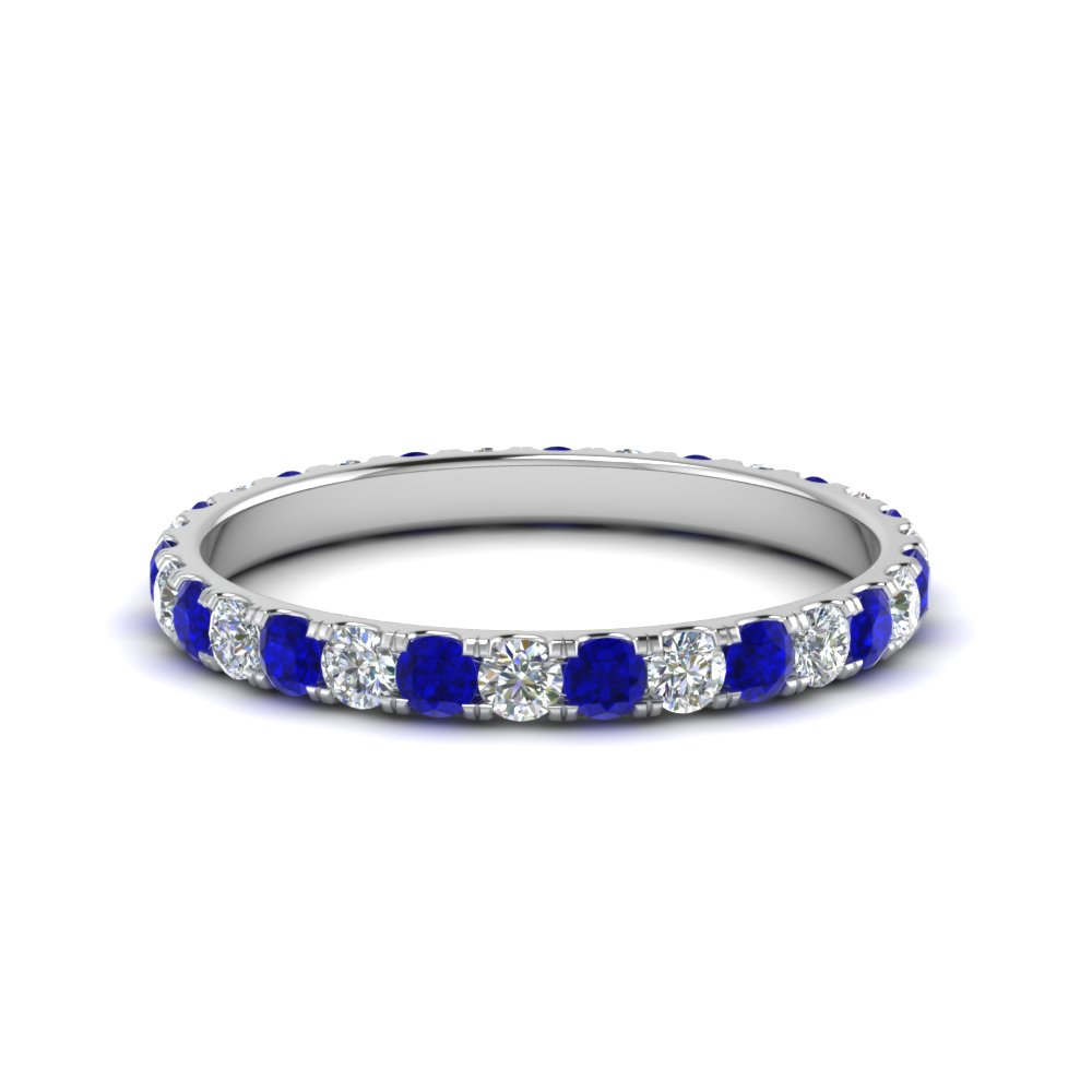 round diamond eternity mothers band with sapphire in FDEWB8371 0.75CTBGSABL NL WG