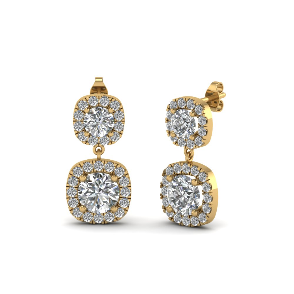 Round Diamond Halo Drop Earrings Yellow Gold