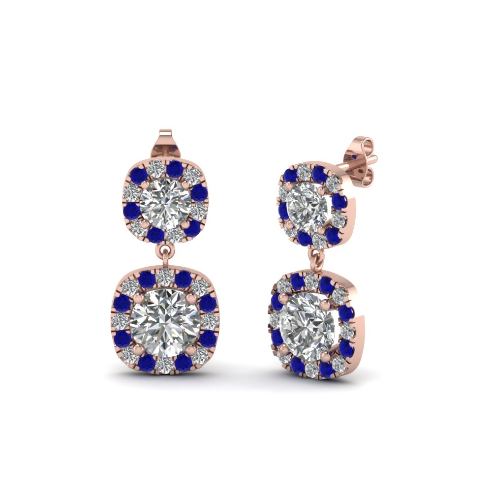 Round Diamond Halo Double Drop Sapphire Earring