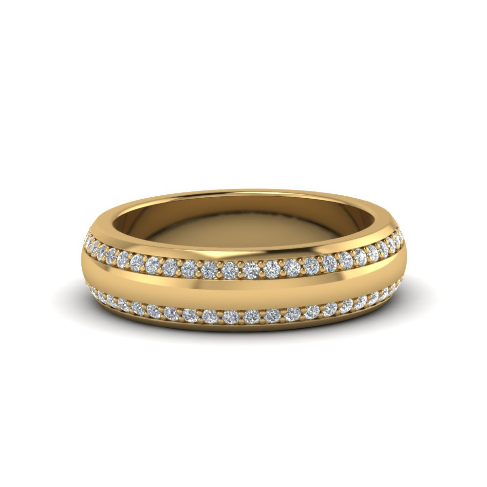 Round Diamond Pave Comfort Fit Mens Band In 18K Yellow Gold