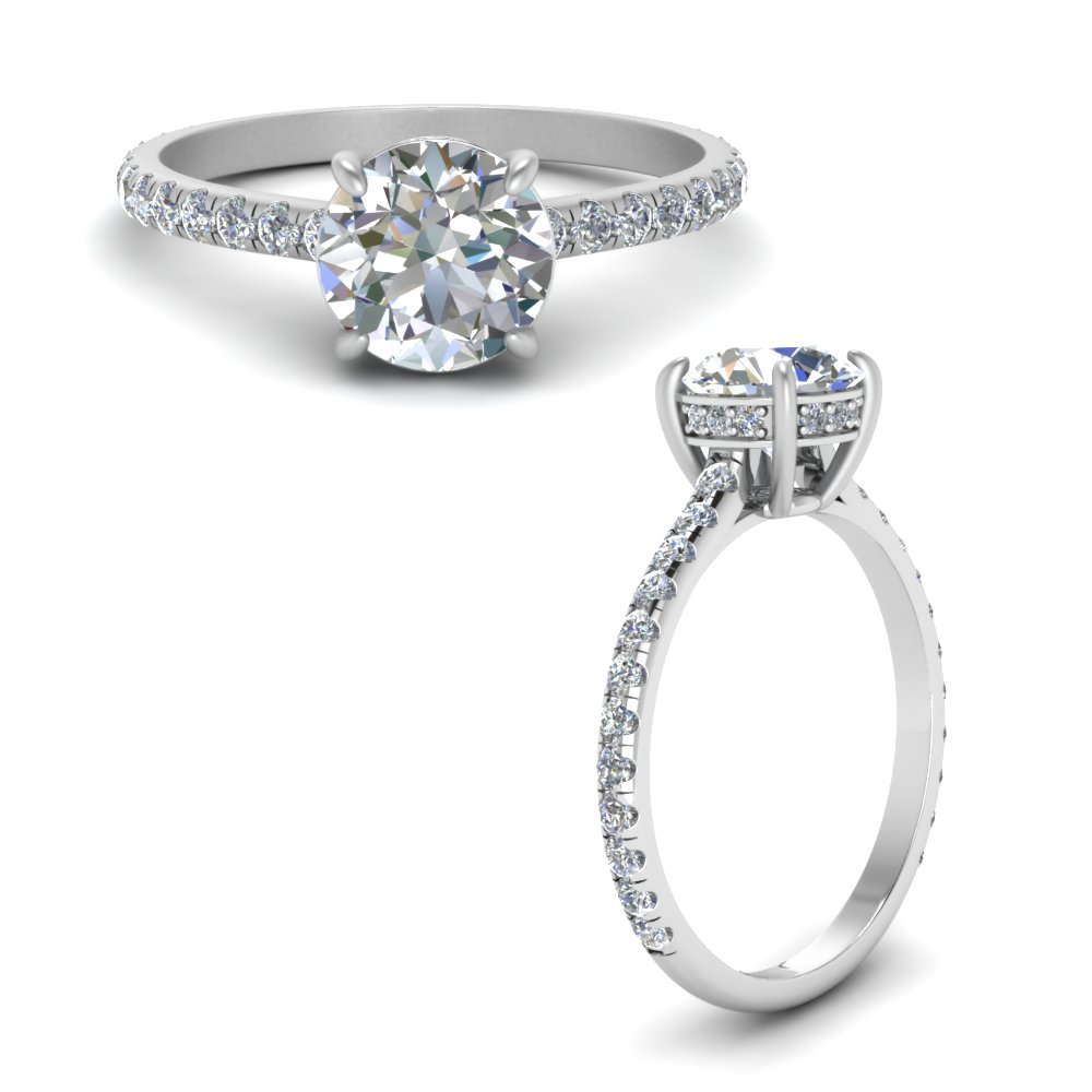 petite engagement ring with hidden halo diamond in FD8526RORANGLE1 NL WG