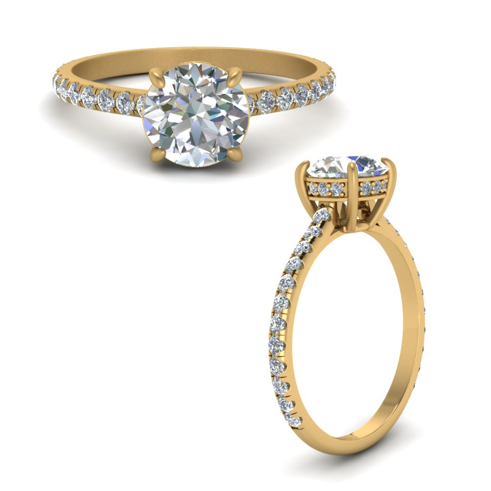 petite engagement ring with hidden halo diamond in FD8526RORANGLE1 NL YG