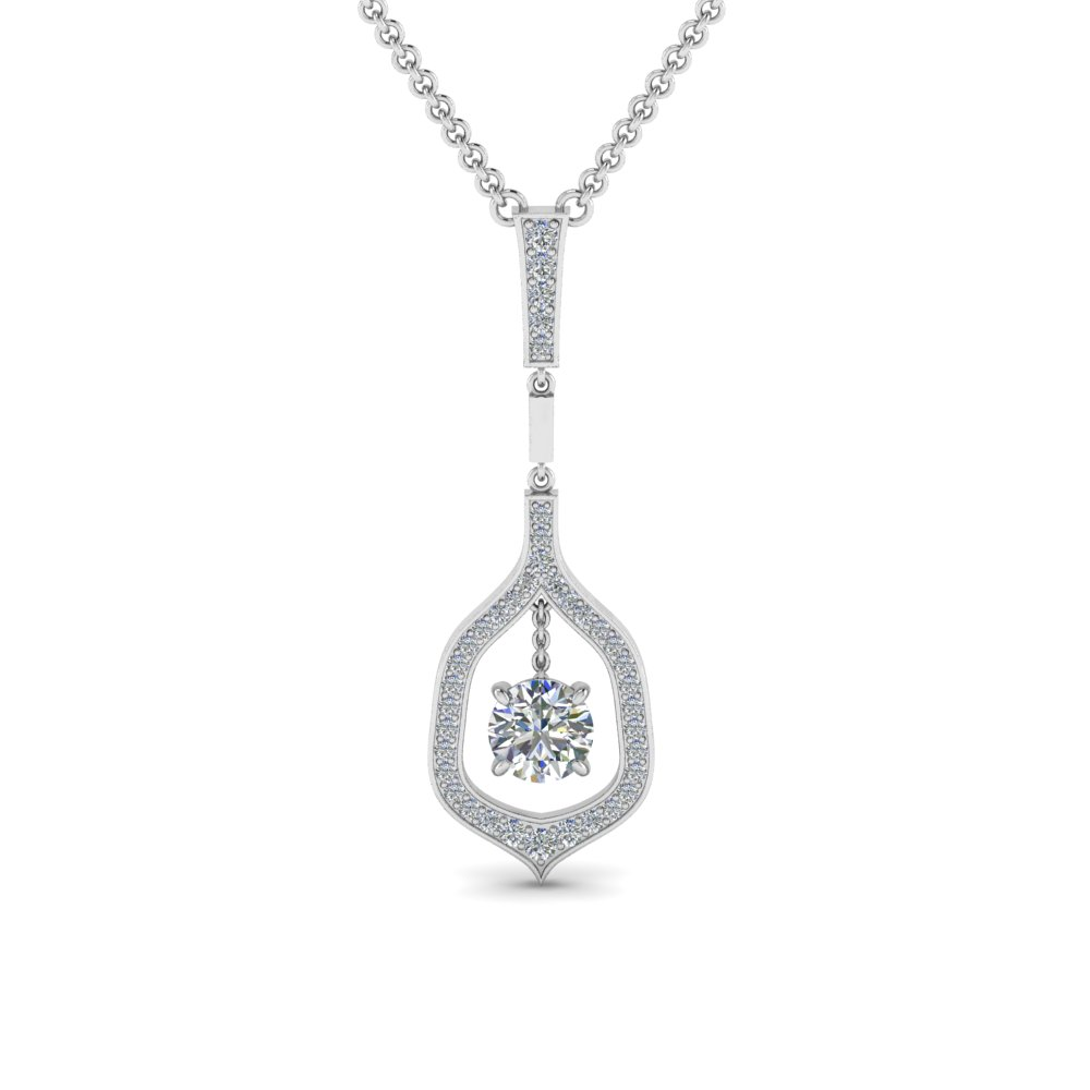 Round floating diamond necklace pendant in 18k white gold round floating diamond necklace pendant in fdpd8489ro nl wg aloadofball Choice Image