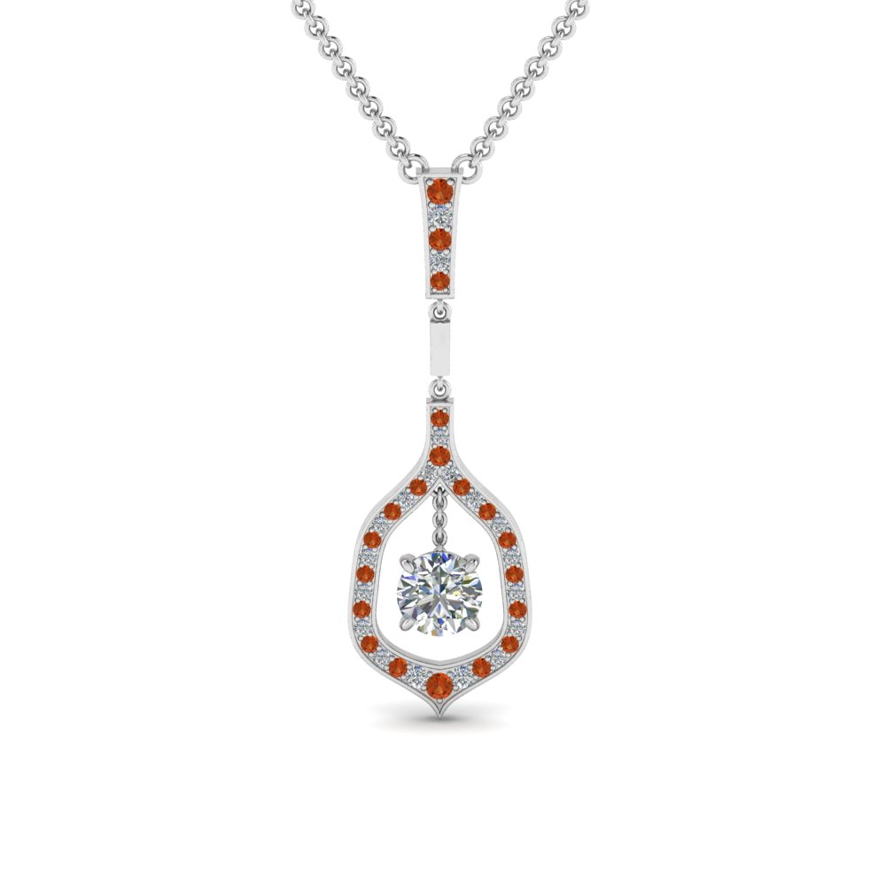 round floating diamond necklace pendant with orange sapphire in 14K white gold FDPD8489ROGSAOR NL WG
