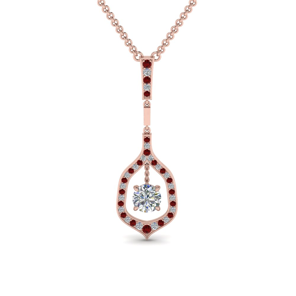 Round Floating Ruby Necklace