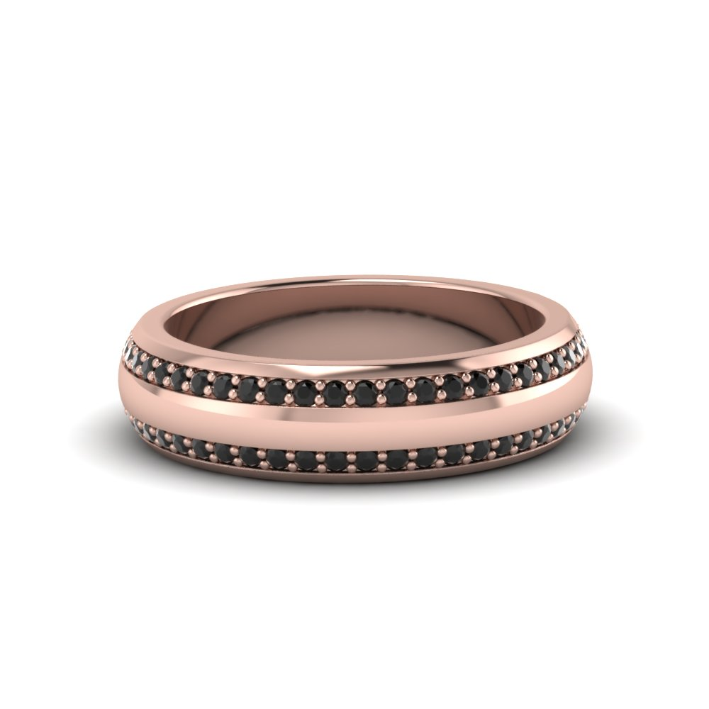 Pave Gemstonefort Fit Mens Band Mens Wedding Bands With Black Diamond  In 14k Rose Gold