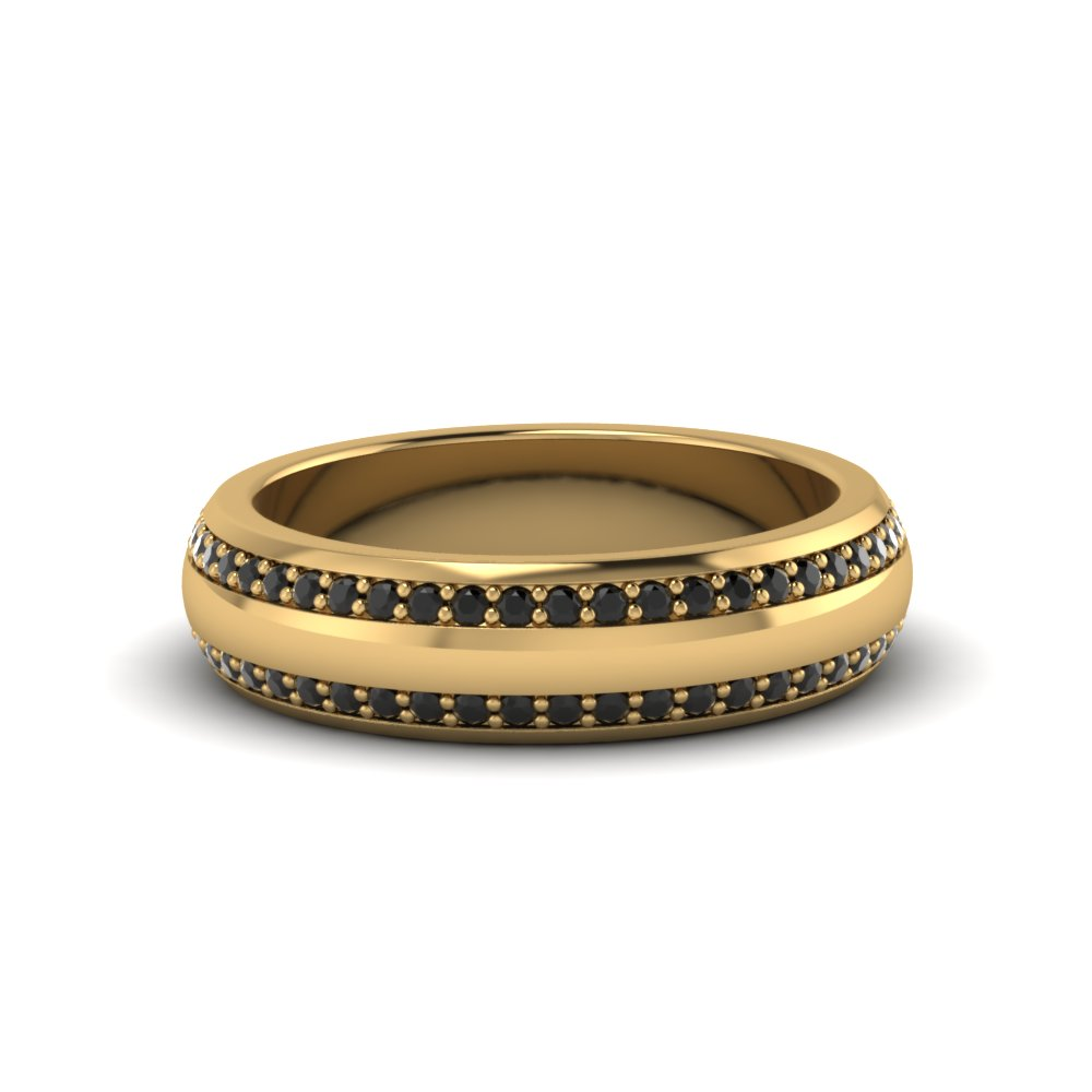 Round Black Diamond Pave Comfort Fit Mens Band In 14K Yellow Gold