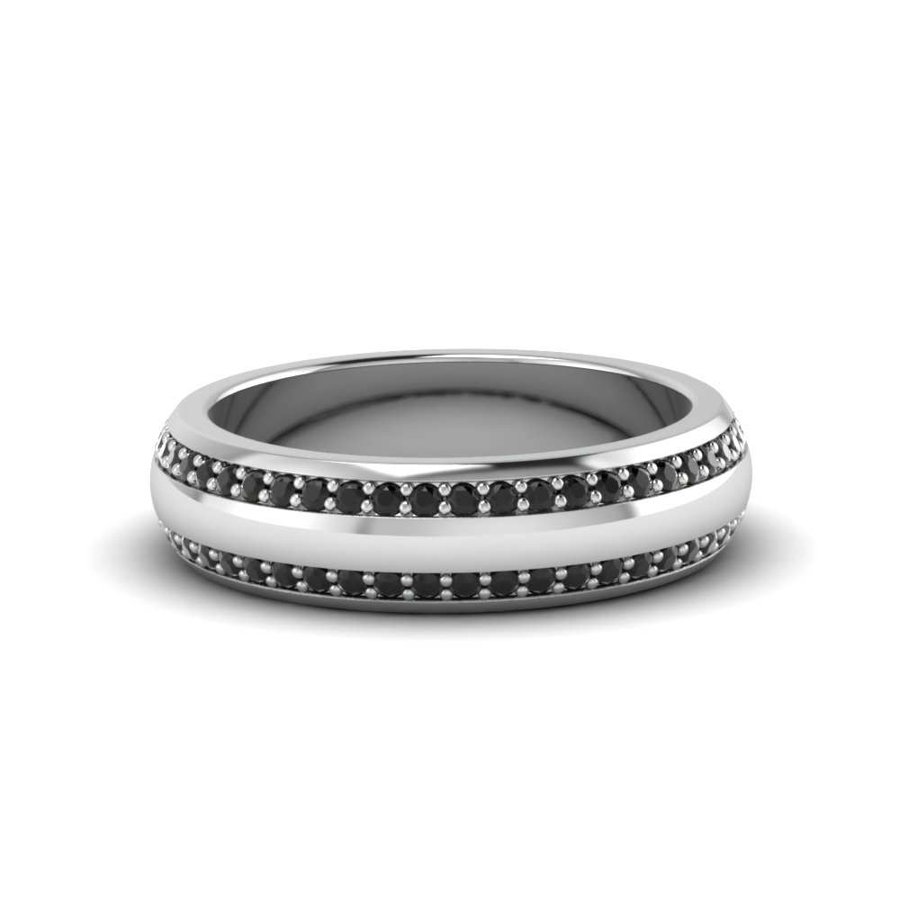 Round Black Diamond Pave Comfort Fit Mens Band In 18k White Gold