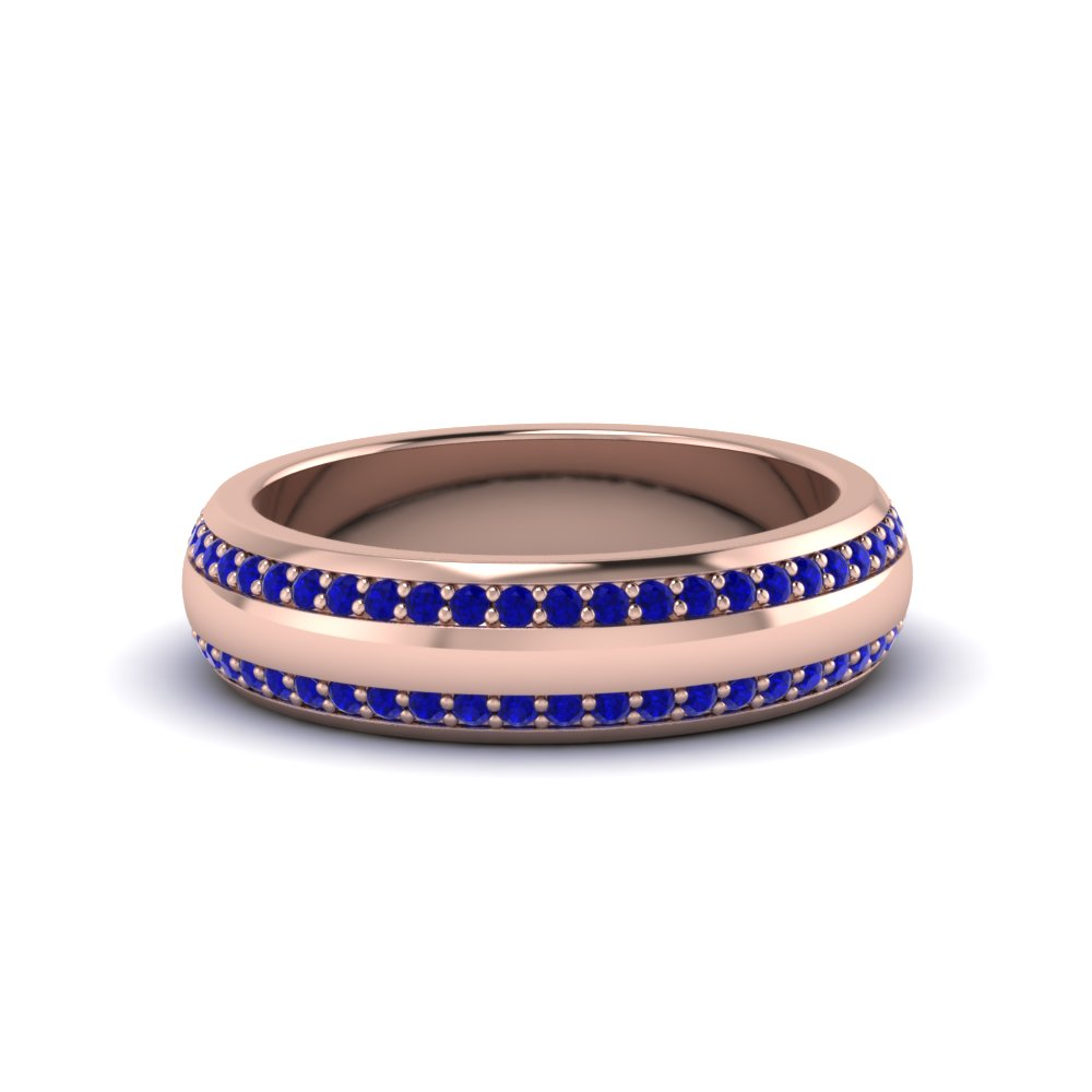 Pave Comfort Fit Sapphire Mens Band