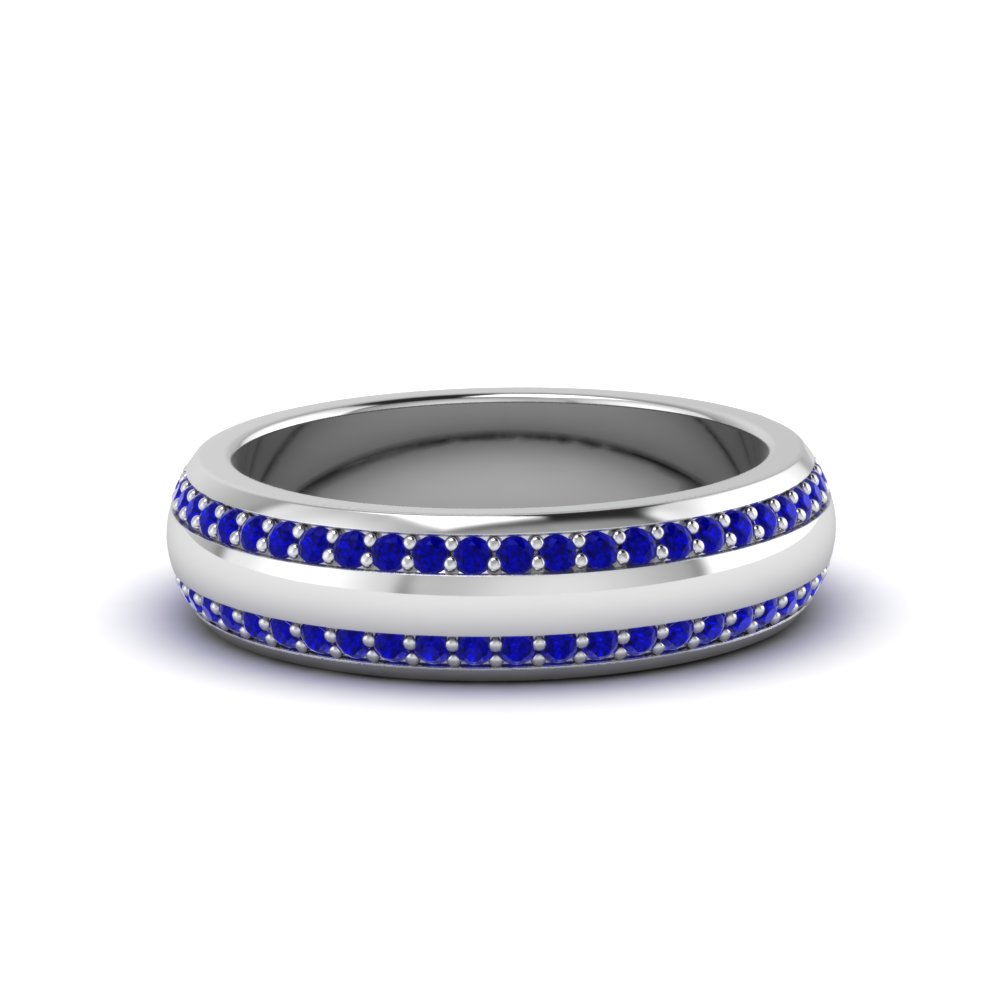 round gemstone pave comfort fit mens band with blue sapphire in 14K white gold FDEWB122291BROGSABL NL WG GS