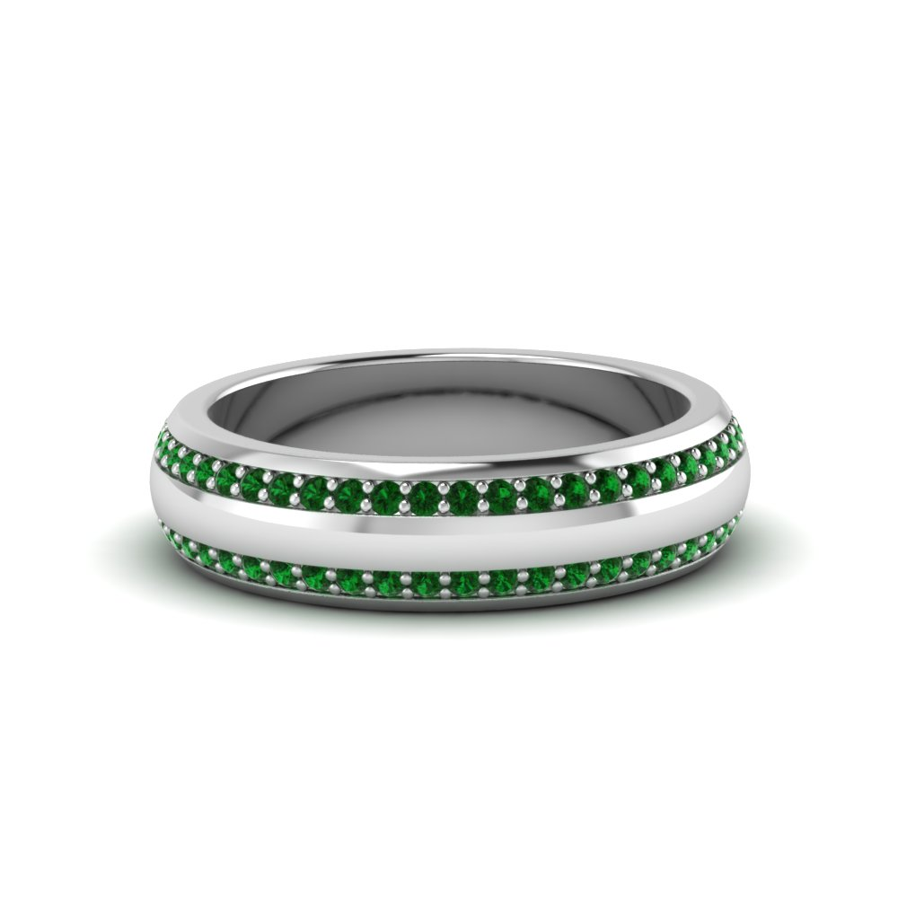 Green Emerald Mens Wedding Bands