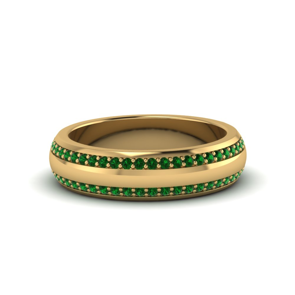 round emerald pave comfort fit mens wedding band in FDEWB122291BROGEMGR NL YG GS
