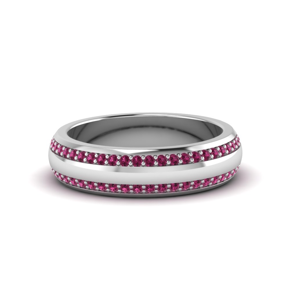 round gemstone pave comfort fit mens band with pink sapphire in 14K white gold FDEWB122291BROGSADRPI NL WG GS