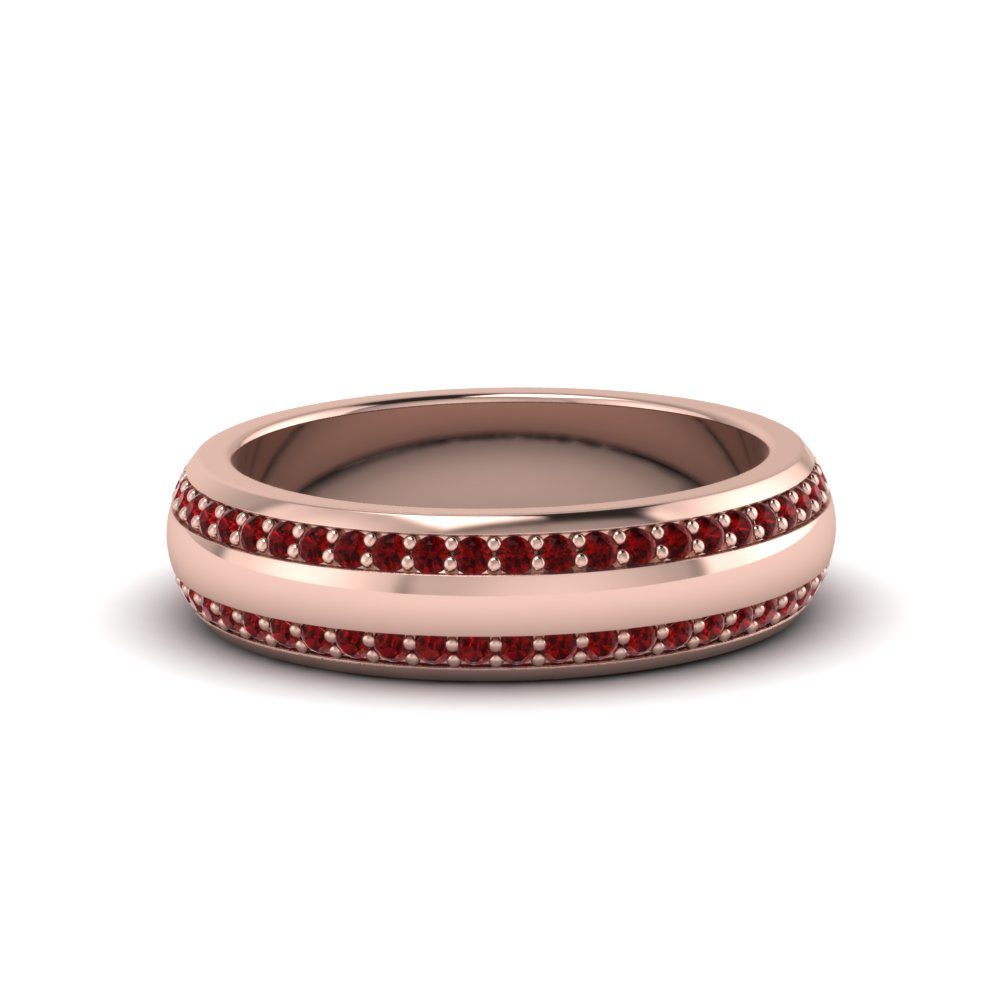 Ruby Pave Comfort Fit Mens Band