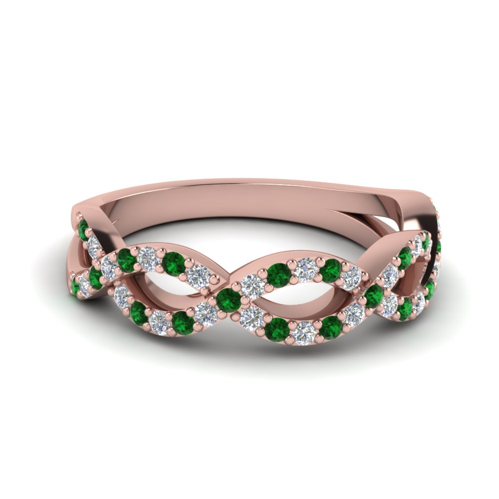 Infinity Twist Emerald Wedding Ring