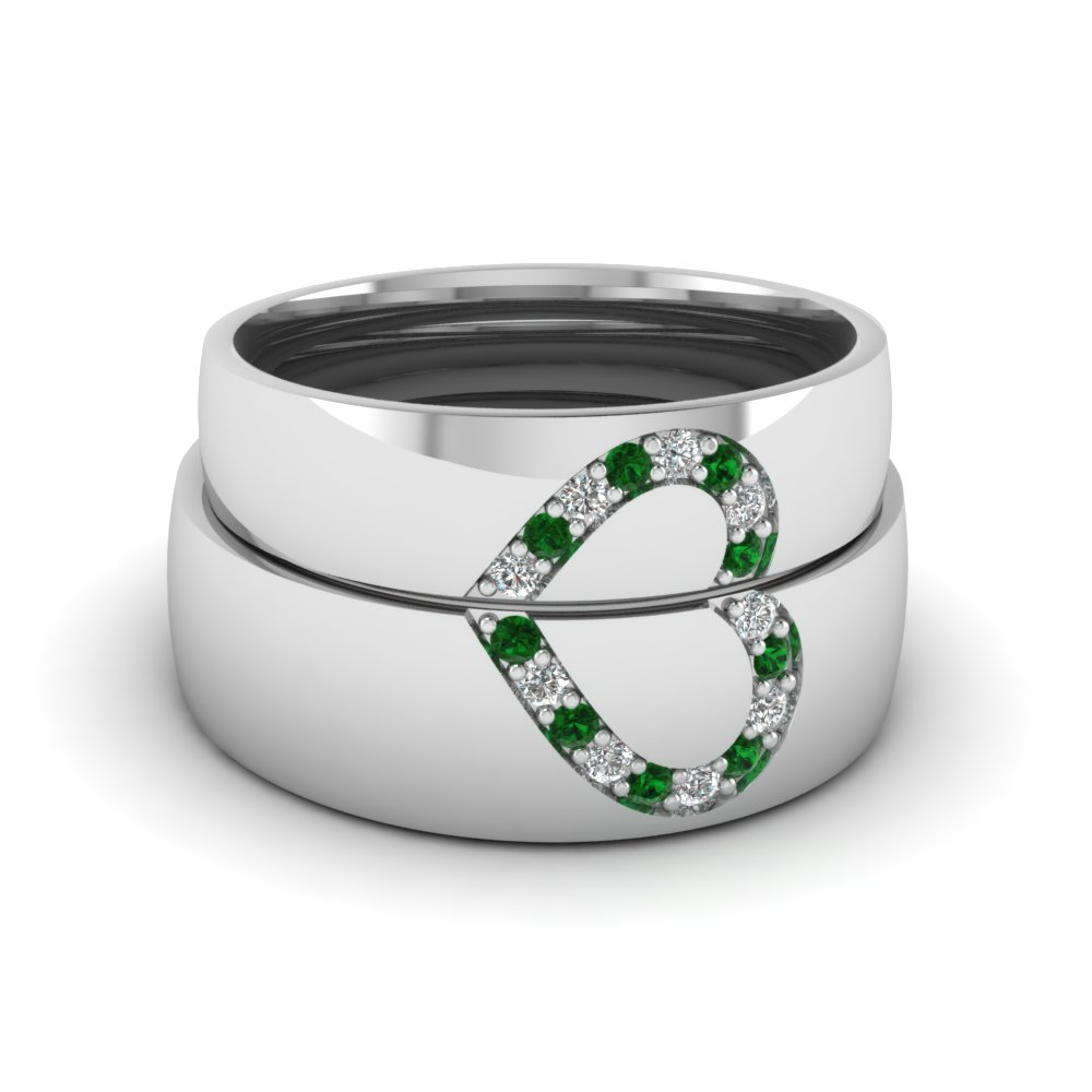his and her diamond matching wedding band with emerald in FD1144BGEMGR NL WG