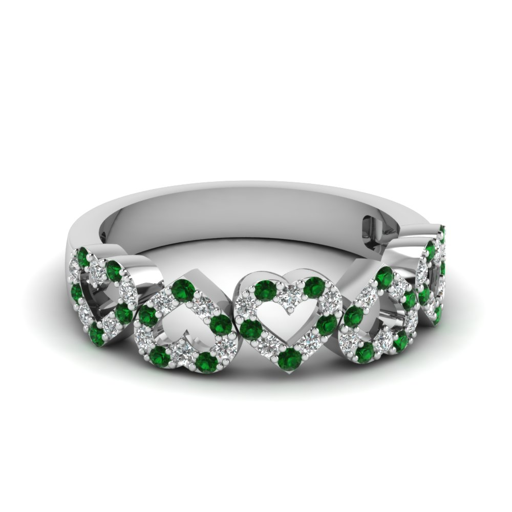 diamond open heart anniversary band with emerald in FD1145BGEMGR NL WG