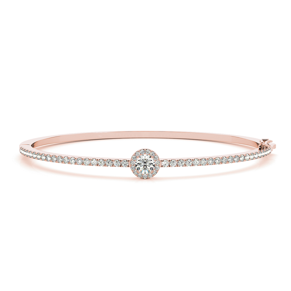 Round Halo Diamond Bangle Bracelet