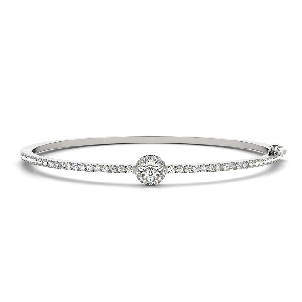 round halo diamond bangle bracelet in FDOBR70506 NL WG