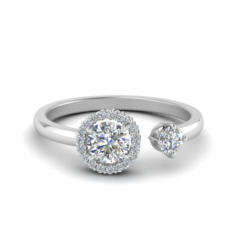 round halo diamond open engagement ring in FD8850ROR NL WG