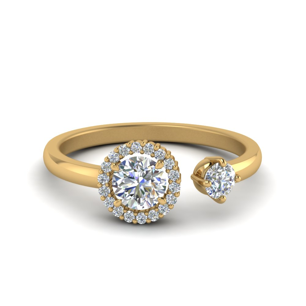 Unique 2 Stone Round Halo Diamond Ring Gold