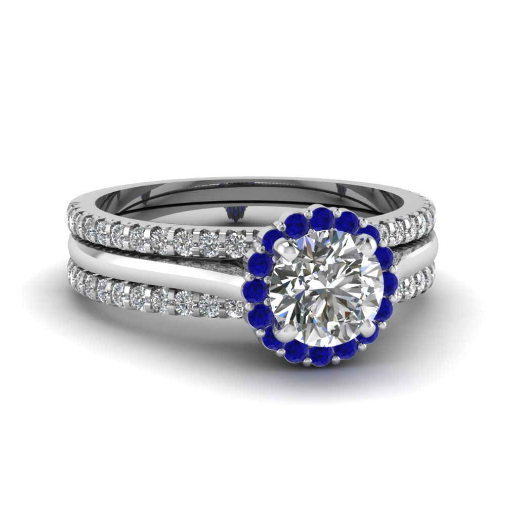 round halo diamond trio wedding ring set with blue sapphire in fd8116trogsabl nl wg - Blue Wedding Ring Set