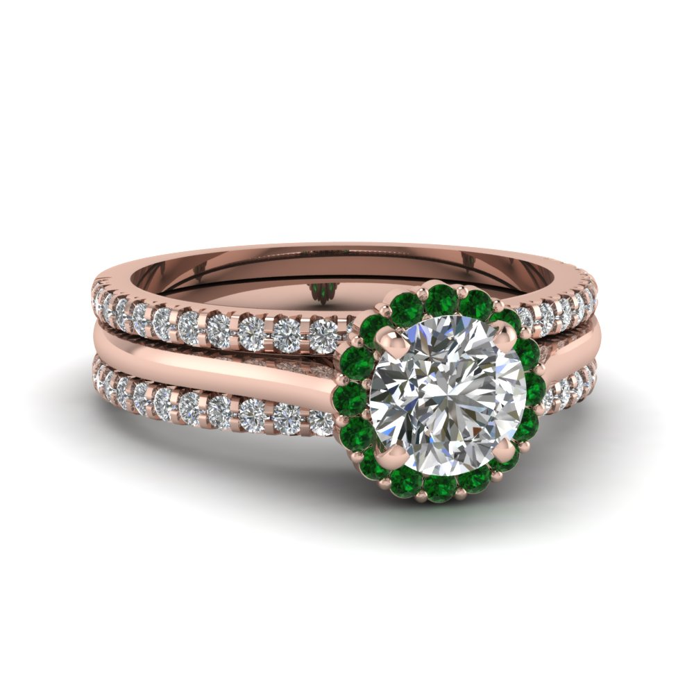 Floral Emerald Trio Wedding Ring Set