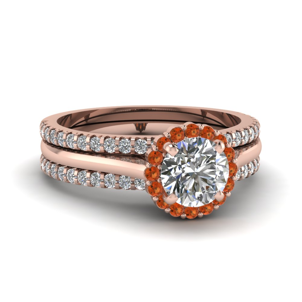 round halo diamond trio wedding ring set with orange sapphire in 14K rose gold FDENS8116TROGSAOR NL RG