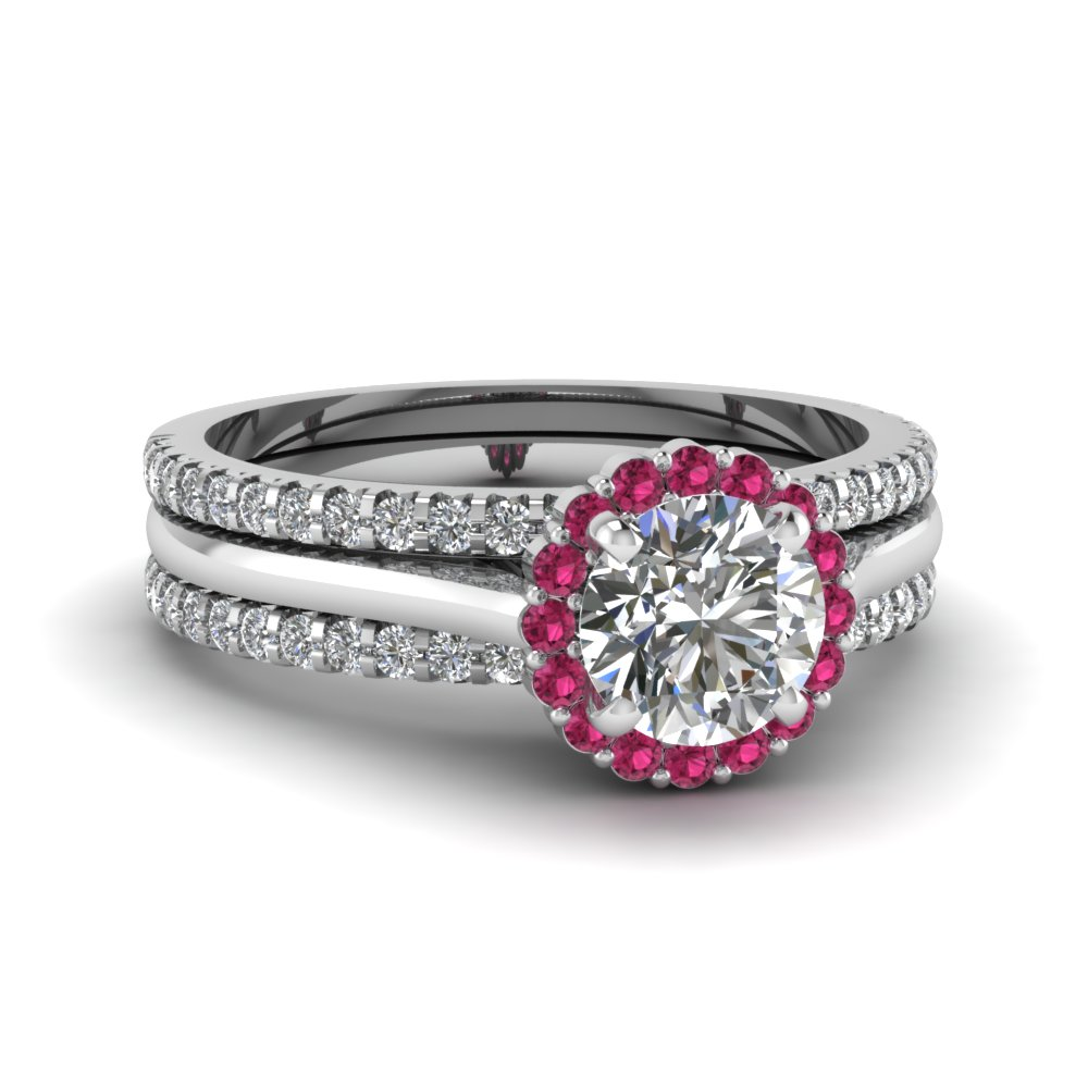 Round Halo Diamond Trio Band Set