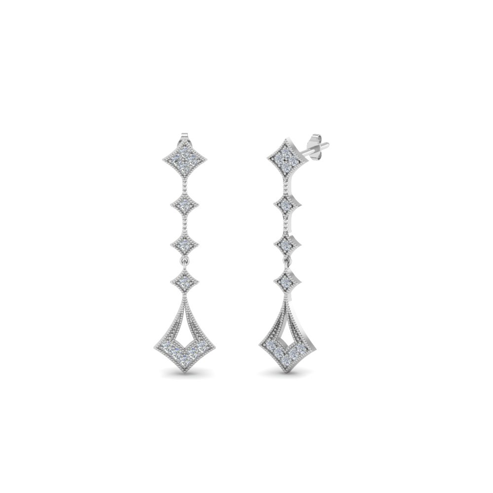 Milgrain Diamond Drop Earrings