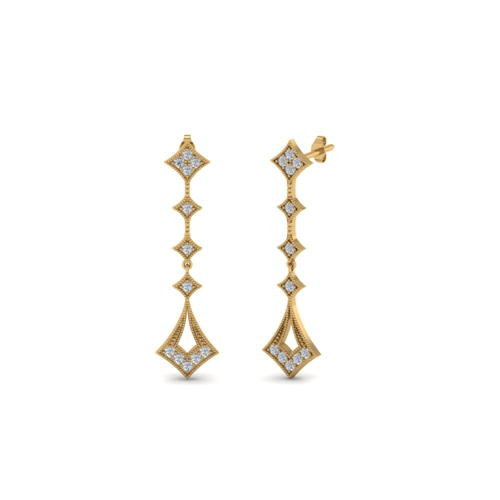milgrain drop diamond earring in 14K yellow gold FDOEAR40401 NL YG
