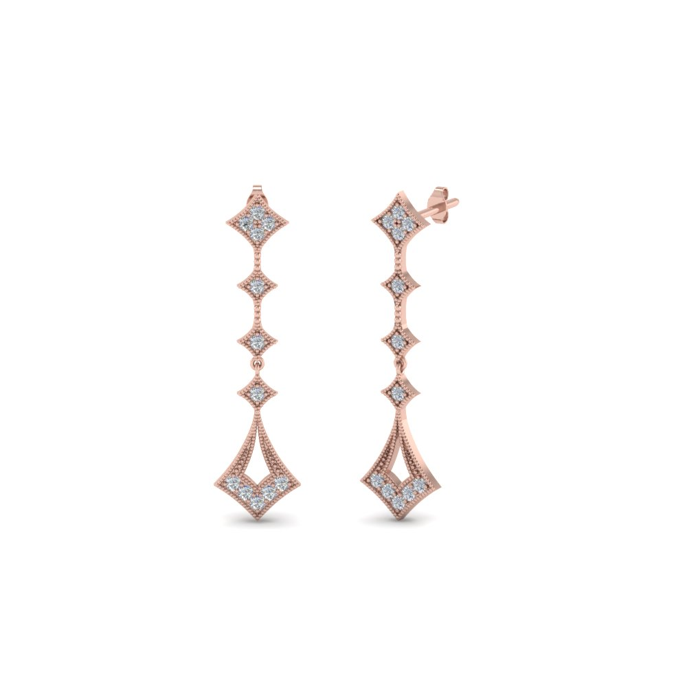 Round Milgrain Drop Diamond Earring In 18K Rose Gold