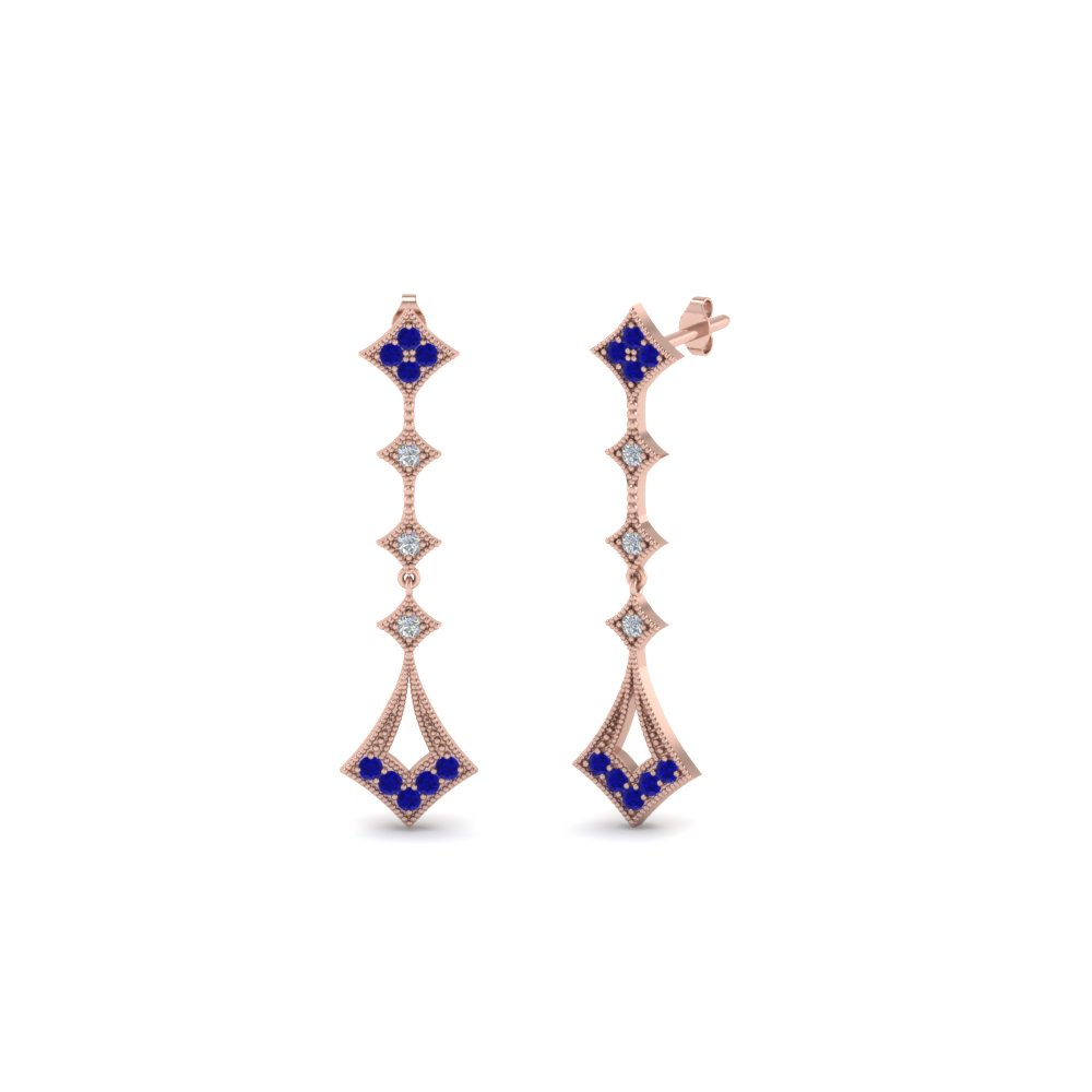 Sapphire Kite Style Earring