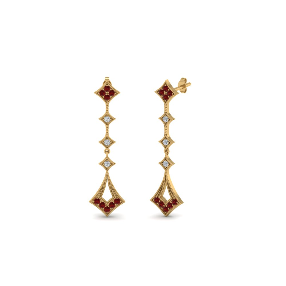 milgrain drop diamond earring with ruby in 14K yellow gold FDOEAR40401GRUDR NL YG