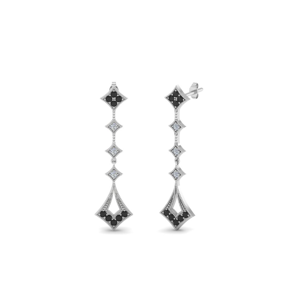 milgrain drop earring with black diamond in 14K white gold FDOEAR40401GBLACK NL WG