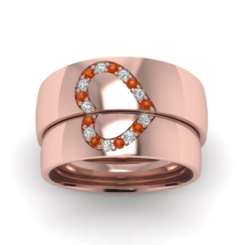 His And Her Diamond Matching Band With Orange Sapphire In 14K Rose ...