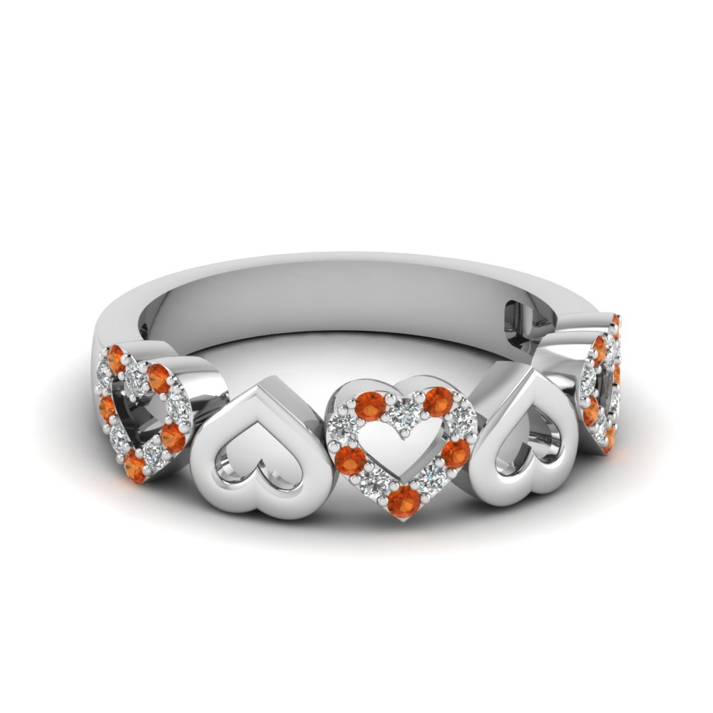 heart design diamond wedding band with orange sapphire in FD1146BGSAOR NL WG