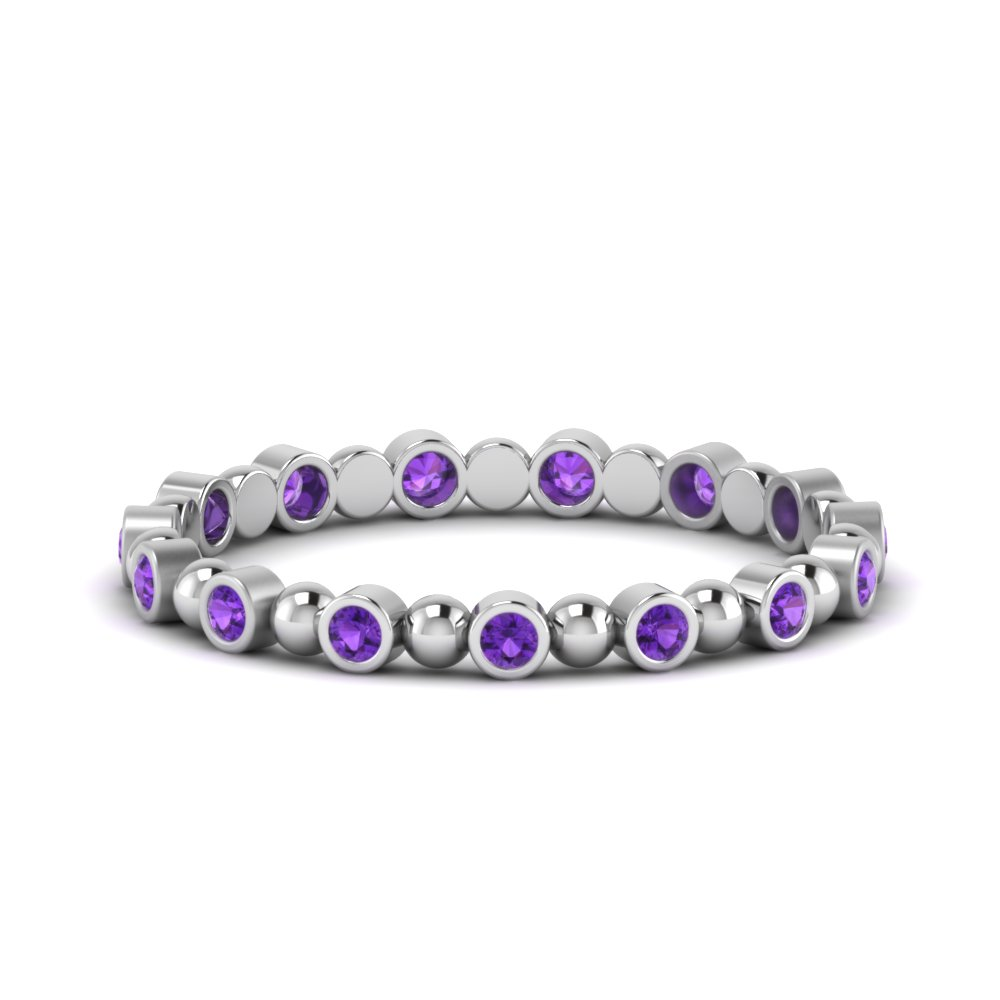 Purple Topaz Bead Bezel Set Band