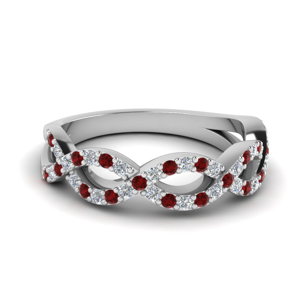 infinity twist diamond wedding band with ruby in FD1078BGRUDR NL WG