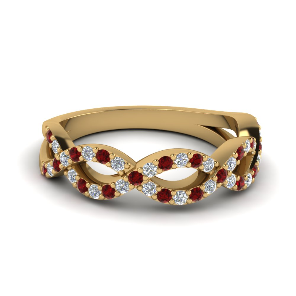 Women Wedding Band With Ruby