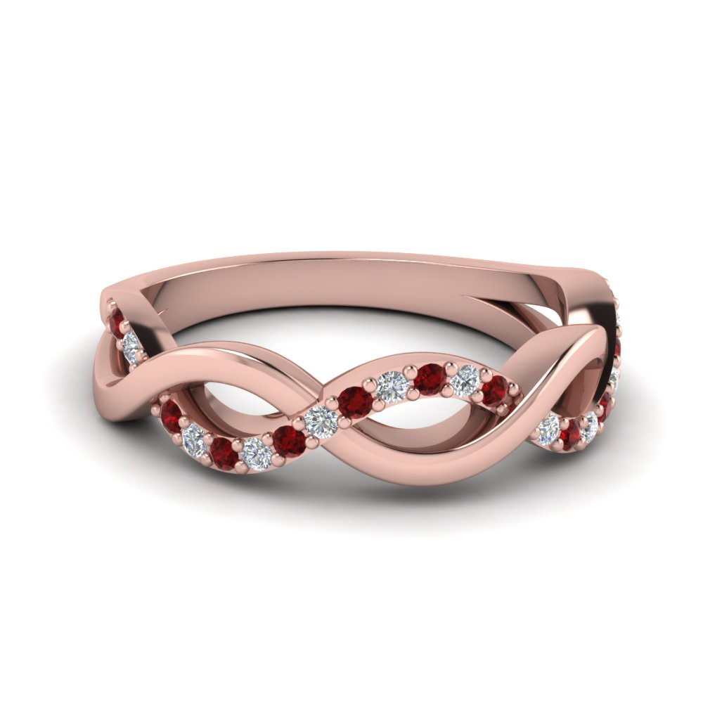 infinity diamond wedding band with ruby in FD1079BGRUDR NL RG