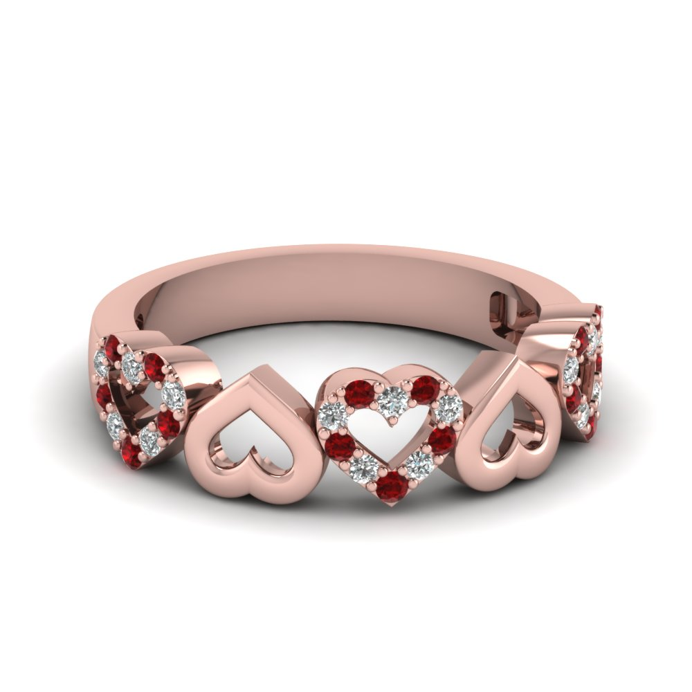 Heart Wedding Band With Ruby