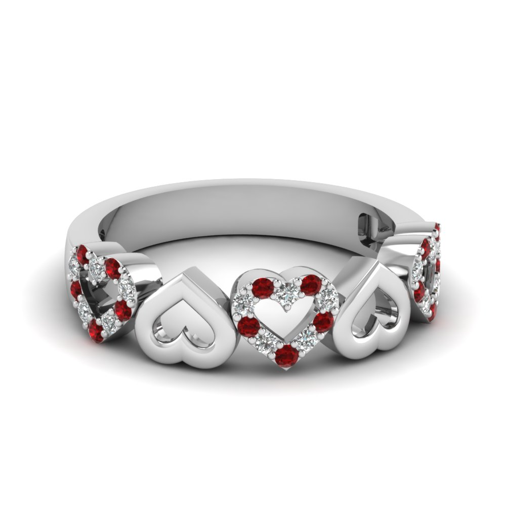 Silver Ruby Wedding Band For Women