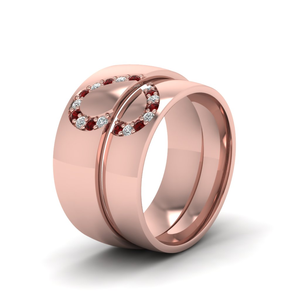 His And Her Diamond Matching Band With Ruby In 18K Rose Gold ...