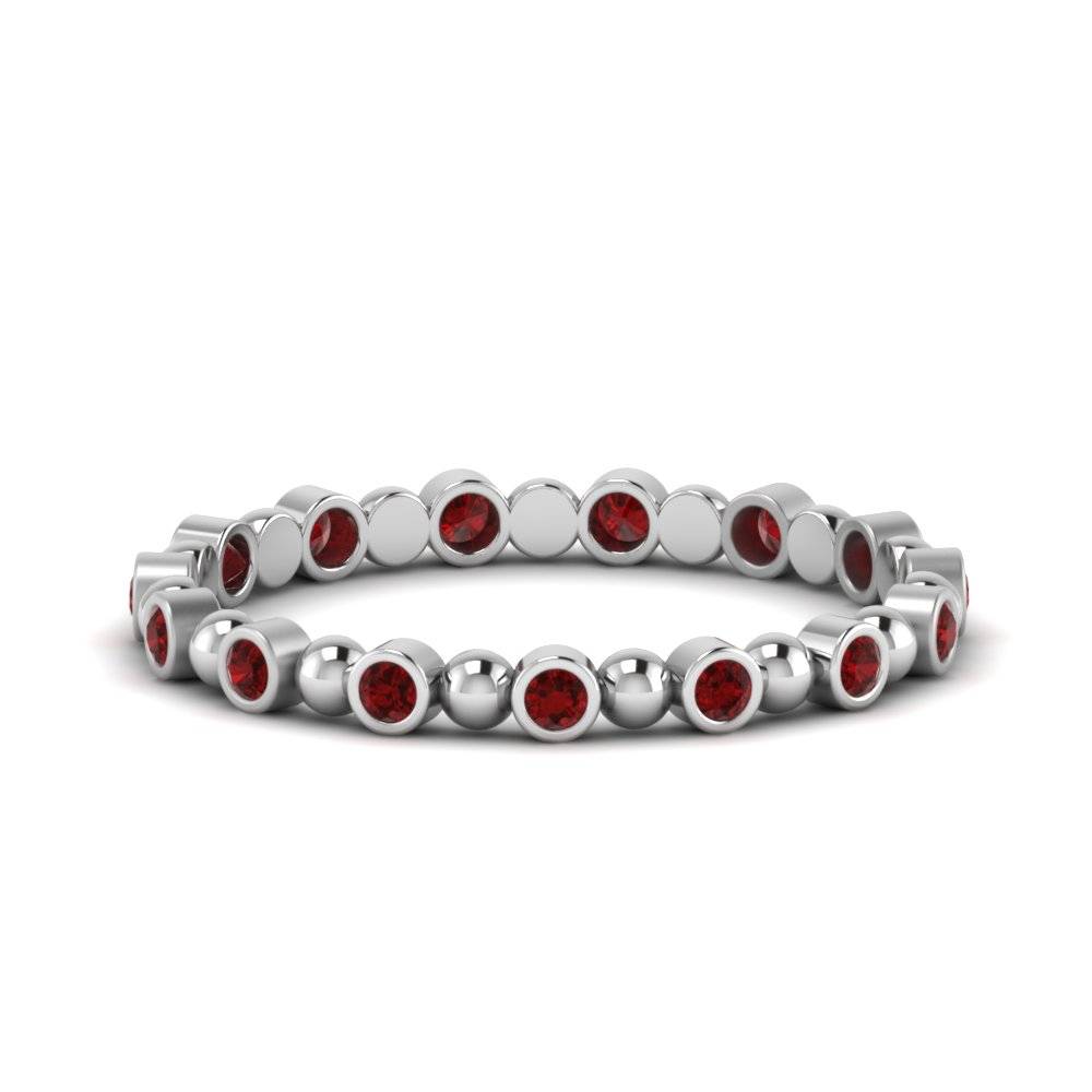 Round Accent Ruby Wedding Band