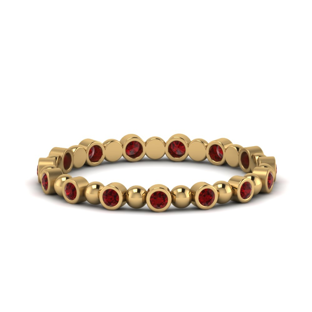 Ruby Bezel Bead Wedding Band