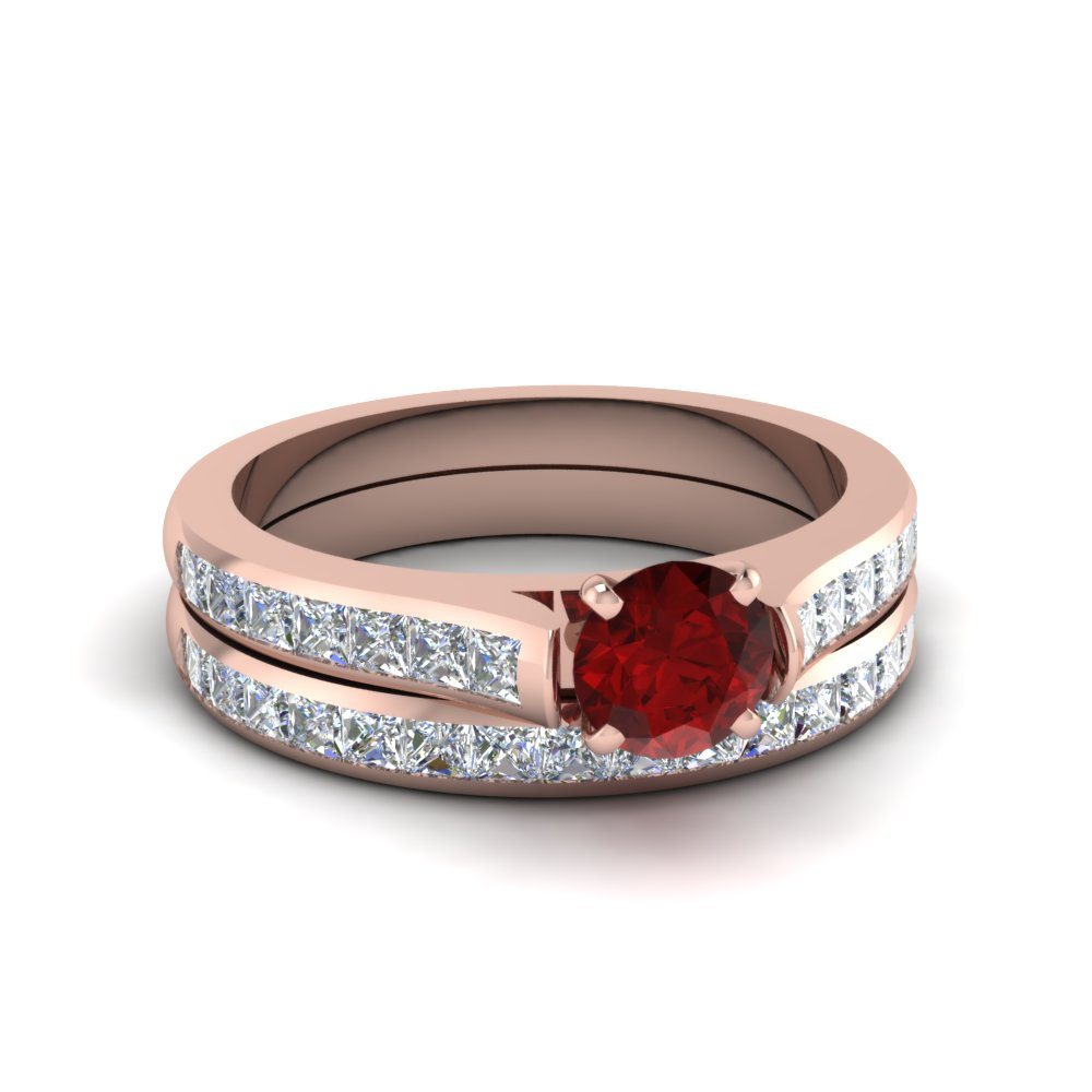 cathedral colored wedding ring set colored engagement rings with red ruby in 14k rose gold - Colored Wedding Rings